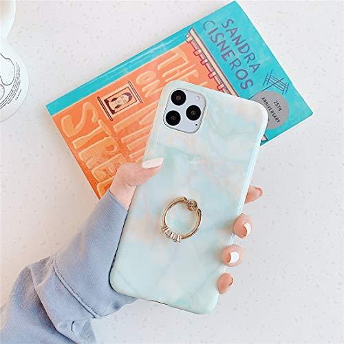 un known Reemplazo Compatible For el iPhone 11 de TPU de mármol Pulido con el Caso Protector del Metal del Anillo del Rhinestone de Soporte Accesorio del teléfono móvil (Pattern : Floating Marble q4)