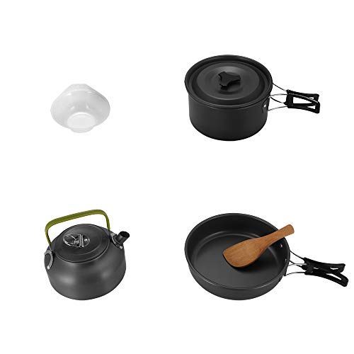 Kasachoy 8 PCS Camping Cooker Set Camping Pot Cookware Set, Nonstick Lightweight Backpacking Cooking Set, Outdoor Cook Gear for Family Hiking, Picnic(Kettle, Pot, Frying Pan, Bowls, Spoon)