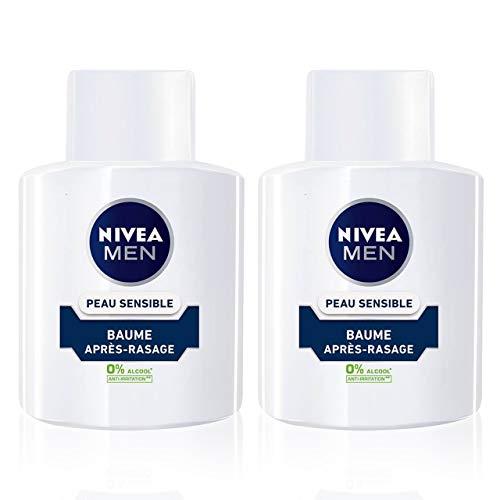 NIVEA MEN Peau Sensible Baume Après-Rasage (2 x 100 ml), Soin Après-Rasage enrichi en Camomille & Hamamélis, Soin visage pour homme 0% d'alcool pour peaux sensibles