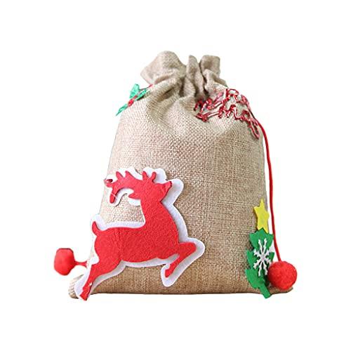 DONTHINKSO Bolsa de regalo de lino de Navidad con cordón lindo Santa Claus Elk Snowman Candy bolsa de almacenamiento de regalo de Año Nuevo Caso de embalaje DIY Craft Decoración de Navidad Alce
