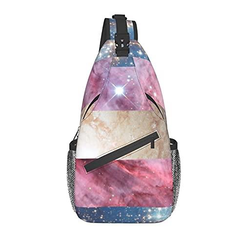 Transgender Galaxy Pride Flag Chest Bag Crossbody Sling Backpack Unisex Sling Bag,Adjustable,Comfortable And Light