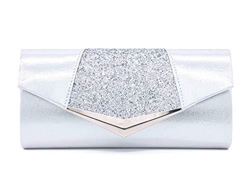 Five Flower Clutch, schimmernde Handtasche mit Pailletten, Silber (silber), Medium