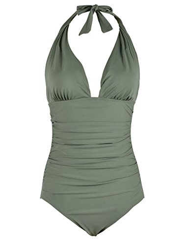 Firpearl Women's Retro 50s One Piece Swimsuit V Neck Halter Ruched Bathing Suit Green 4