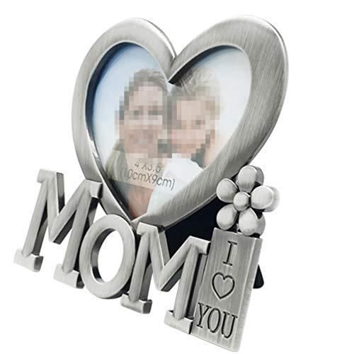 VOSAREA Marco de Fotos de Corazón Mamá Te Amo Marco de Sobremesa Marco de Fotos de Metal para El Día de La Madre Regalo de Cumpleaños de La Madre