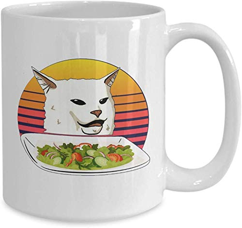 Cat Lovers Gifts Mug Woman Yelling at Confused White Cat at Dinner Table Funny Trending Dank Memes Coffee Mugs Cup Best Xmas Gift for Men Women