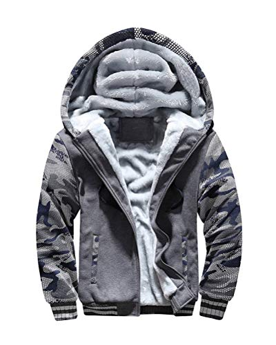 Yesgirl Herren Kapuzenpullover mit Reißverschluss Winter Warm Fleece Langarm Kapuzenjacke Sweatshirt Plus Dicke Hoodie Fleecejacke Sweatjacke Mit Kapuze C Grau X-Large
