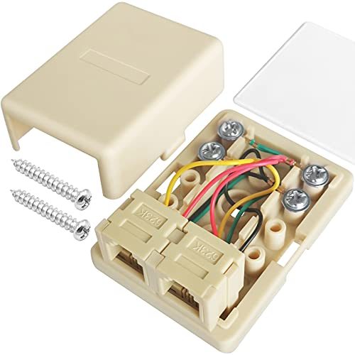 NECABLES Phone Jack Surface Mount Dual Port Telephone Junction Box with 2 RJ11 6P4C Female Outlets Ivory