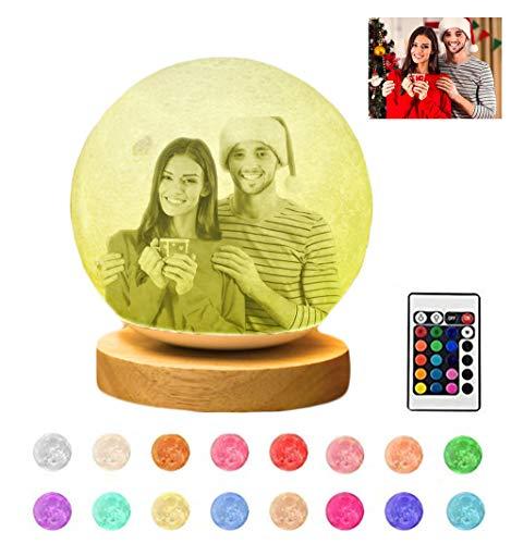 Foto personalizada de la lámpara Moon, luz de la noche en la luna 3D, lámpara Moon con soporte, 16 colores LED, regalos de la fiesta de cumpleaños