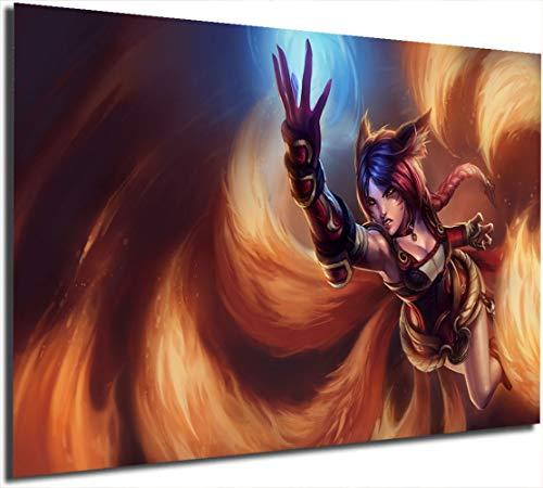 Ahri Foxfire Poster Malerei auf Leinwand, 45,7 x 61 cm, Lea-gue of Leg-ends Gaming-Malerei, Wandkunst, Bild für Wohnzimmer, Heimdekoration, kein Rahmen