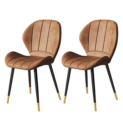 WWL Comedor Oficina sillas Oficina Minimalista Moderna Silla Hierro Forjado Hogar Nórdico Café Restaurante Luz Lujo Comedor Sillas Respaldo Casual Cuero Juego De 2 sillas de Comedor tapizadas Tela