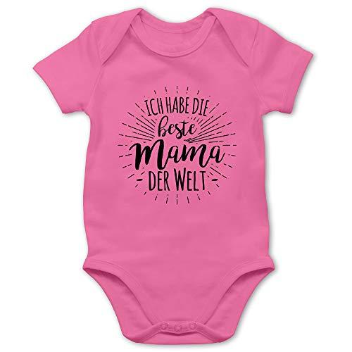 Sprüche Baby - Ich Habe die Beste Mama der Welt - 6/12 Monate - Pink - Body für die Beste Mama - BZ10 - Baby Body Kurzarm für Jungen und Mädchen