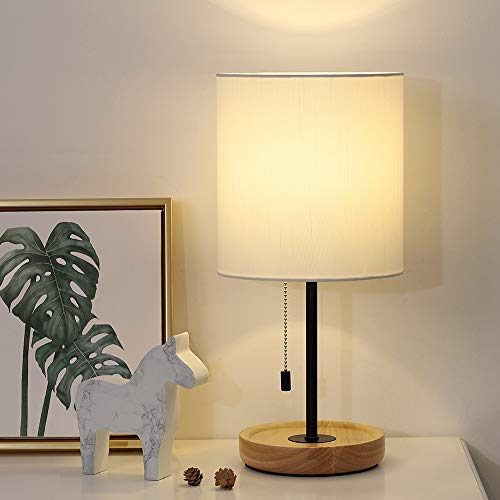 Wood Desk Lamp, Nightstand Table Lamp with White Fabric...