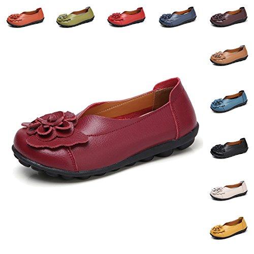 Gaatpot Damen Blumen Mokassins Atmungsaktiv Leder Bootsschuhe-Loafers, Wein Rot, Gr.- 38 EU/ Herstellergröße- 39