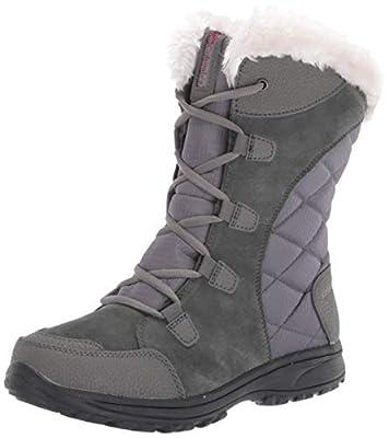 Columbia Women's ICE Maiden II Snow Boot, Shale, Dark Raspberry, 9.5 B US