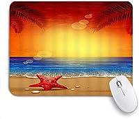 マウスパッド 個性的 おしゃれ 柔軟 かわいい ゴム製裏面 ゲーミングマウスパッド PC ノートパソコン オフィス用 デスクマット 滑り止め 耐久性が良い おもしろいパターン (ファンタジーオーシャンコレクション静かな海の景色ビーチに横たわるシースターシェルヤシの木の日の出アート絵画)