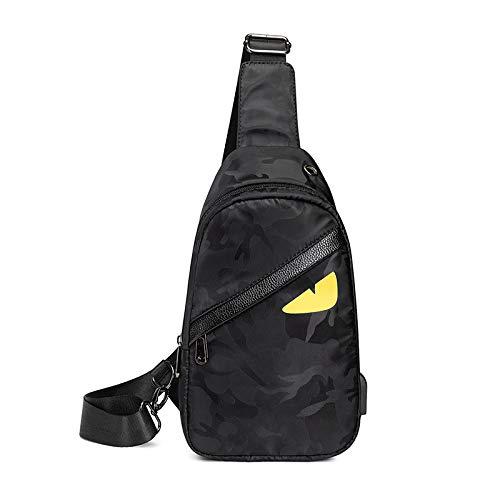 Maijia Men Women Chest Front Bag Sling Backpack Lightweight Waterproof Multi Pockets Crossbody Bag for Tablet Work School Hiking Camping (Black 1)