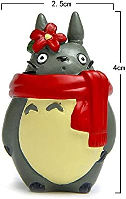 Xennos Kawaii Resin Totoro Christmas Edition Lovers Scarf Miniature Figurines Doll Kids Gift Statuette Decoration -