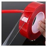 JIAQING 3 4 cm x 3 m adhesivo acrílico rojo doble cara cinta transparente fuerte estilo coche (tamaño: 4 x 300 cm)