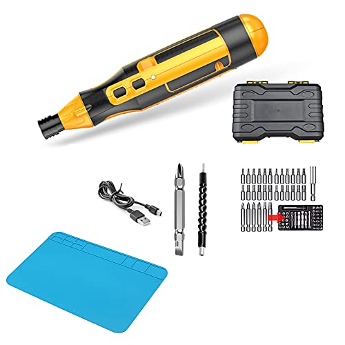 XDXDO Small Electric Screwdriver, Rechargeable Cordless Screwdriver with 43 Bits And USB Cable, 4N.M Mini Power Screwdriver Kit, Repair Tool Set for Watches, Cameras