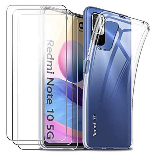 Coque pour Xiaomi Redmi Note 10 5G, Souple Transparent TPU Silicone Housse Étui avec Trois Film Protection d'écran en Verre Trempé pour Xiaomi Redmi Note 10 5G 6.5''