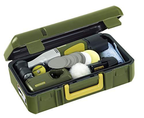 Proxxon Exzenterpolierer EP/A (ohne Akku, Drehzahl 1100-2600/min, Spannung 10,8 V, Poliermaschine kompakt, mit Koffer + Zubehör) 29837
