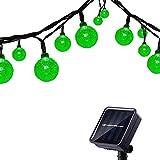 Tuokay 6M Cadena de Luces Solares 8 Modos Impermeables 30 LED Guirnalda de Energía Solar para Árbol de Navidad, Patio, Jardín, Terraza y Todas las Decoraciones con Diseño de Bolas de Cristal (Verde)