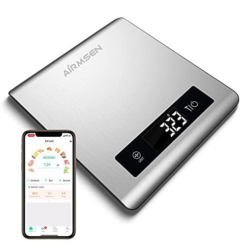AIRMSEN Küchenwaage Digitalwaage Elektronische Waage mit Bluetooth-Anwendung, Großer Lebensmittelgerechter Edelstahloberfläche an Kalorien Berechnen, 5KG Inkl.Batterie