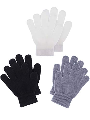 Boao 3 Pairs Kids Gloves Full Finger Mittens Winter Knitted Gloves for Little Boys and Girls Supplies (Black, White, Grey, 7-11 Years Size)