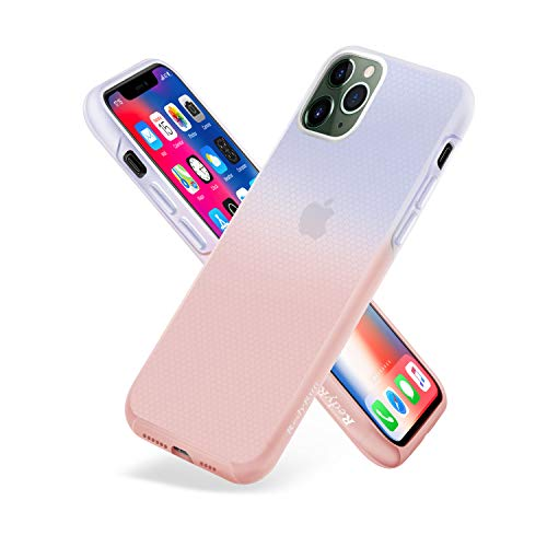 RedyRun iPhone 11 Pro Max Semi Clear Liquid Silicon Case Real Full Protective Cover Bumper Shockproof Ultra Slim Durable Non-Slip Semitransparent Translucent with Bicolor Design,Pink-Blue