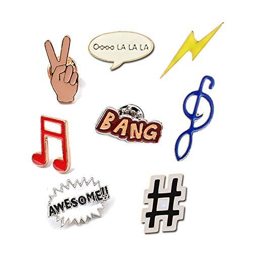 ZSCZQ Interesse Symbol Broschen Frauen Schmuck Kinder Broche Nette Musik Dialog Awesome Emaille Hijab Pins Denim Revers Pin Bag Icons Abzeichen Bang