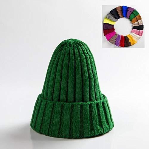 Sombrero Unisex Mezclas de algodón Sólido Cálido Suave Hip Hop Sombreros de Punto Hombres Gorras de Invierno Gorros de Mujer Gorros para niña-Green
