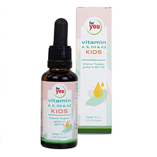 for you Vitamin A, E, D3 & K2 Kids   Tropfen für Kinder ab 4 Jahren   Lebenswichtige Vitamine zur Ergänzung der Ernährung für Kinder   Vitamine für Kinder ohne Zusatzstoffe in MCT-Öl gelöst