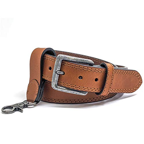 WInchester Concealed Carry Belt CCW, 14 Oz Full Grain Leather Tactical Gun Belt, 1 1/2 Inch Wide Tan + Keychain Ring
