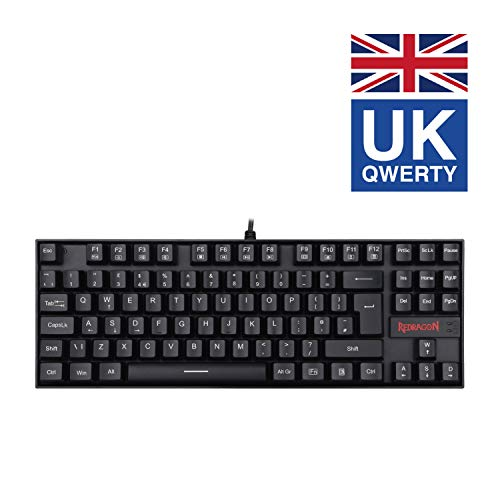 Redragon Gaming Mechanical Keyboard K552-N-UK KUMARA, 87 Key Mechanical Keyboard with Blue Switches for PC Gaming (Replaceable Keyswitch) - UK Layout (No light)