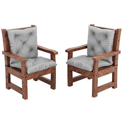 MOLTICO 2er Set Stuhlkissen Sitzkissen und Rückenkissen für Stühle Sessel Wasserdicht - Indoor und Outdoor - 100x50x10 cm - Grau