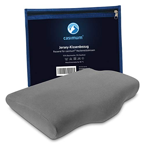Jersey Kissenbezug für casimum Bauchschläfer Kissen - Original Schonbezug mit Reißverschluss für casimum Nackenstützkissen, 60x40 cm, maschinenwaschbar, Baumwolle, Grau