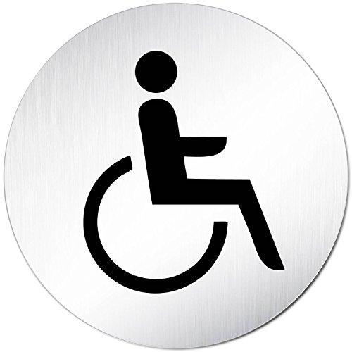 Kinekt3d Leitsysteme XXL WC Schild Toilettenschild • Ø 100 mm • Behindertengerecht - Rollstuhl • Aluminium (eloxiert) • Hinweisschild