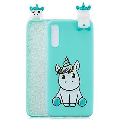 SEEYA Funda Silicona 3D para Xiaomi Redmi 9A Case Dibujo Unicornio Bolsillo Azul Carcasas y Fundas para móviles Suave Flexible Delgado Bumper Diseño Animados Linda Caso Blando Bonitas