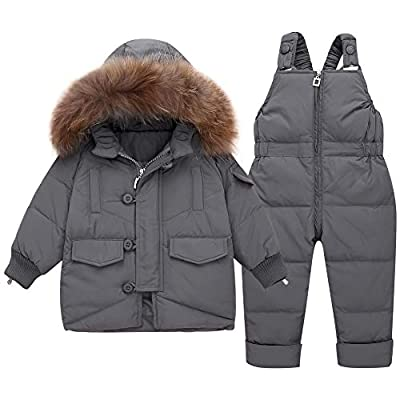 WESIDOM Baby Girls Boys Snowsuit,Infant Toddler Hooded Down Jacket Coat with Ski Bib Pants Outfit Sets Grey