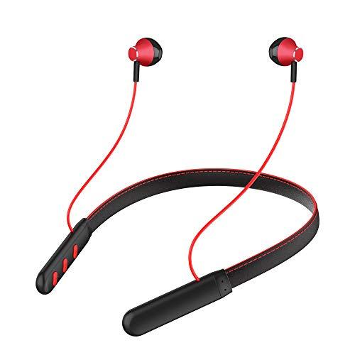 YUHUANG Drahtloses Bluetooth-Headset, 5.0 hängender Hals, magnetischer Ständer, Körperschall, Sport, wasserdichtes Bluetooth-In-Ear mit Mikrofon-Kopfhörern,Rot