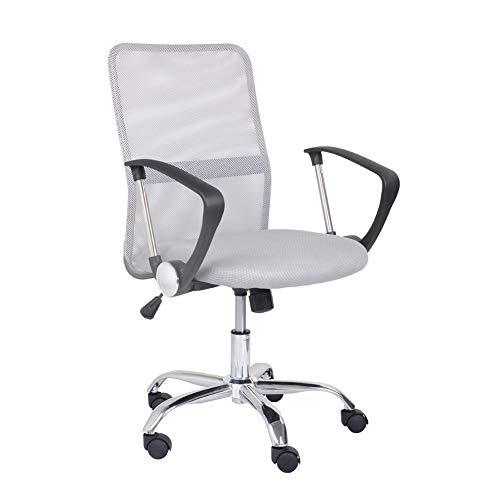 GOLDFAN Ergonomischer Drehstuhl aus Stoff Höhenverstellbar Schreibtischstuhl Bürostuhl mit Netzrückenlehne mit Armlehnen, Grau