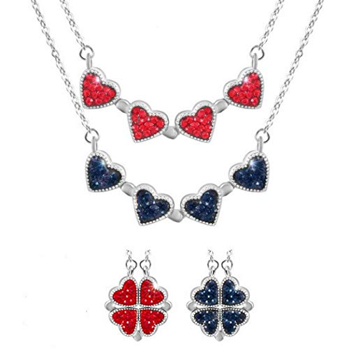Inf-way Lucky Clover 925 Sterling Silver Crystal Necklace, 4-in-1 Wearing 2 Sides Diamond Heart Love Pendant for Women Christmas Gifts (Red-Blue Silver Chain)