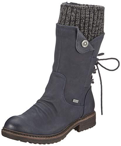 Rieker Damskie buty 94750, damskie buty zimowe, riekerTEX, Ocean Ocean Black Grey 14 niebieski, 40 EU