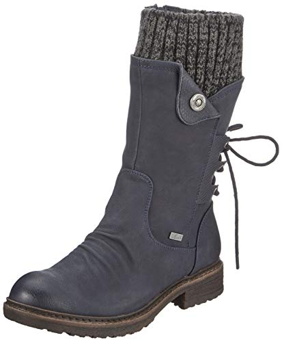 Rieker Damen Stiefel 94750, Frauen Winterstiefel,riekerTEX, elegant Women's Women Woman Freizeit leger,Ozean/Ozean/Black-Grey / 14,38 EU / 5 UK
