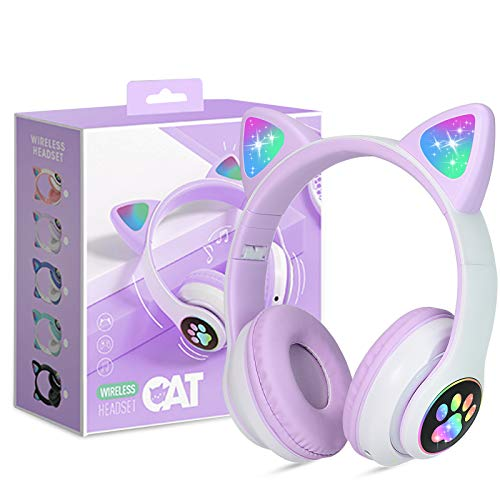 Auriculares para Niños Inalámbricos con Luz LED, Auriculares de Diademacon Orejas de Gato para Niñas, Bluetooth Plegables Auriculares con Micrófono, Micro SD para TV Regalo para Cumpleaños/Navidad