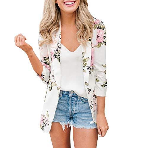 catmoew Anzug für Damen Anzugkragenmantel Damen Print Pocket Small Blazer Damen Retro Floral Zipper Up Bomberjacke Casual Coat Oberbekleidung Hochwertiger Anzug Alltagskleidung
