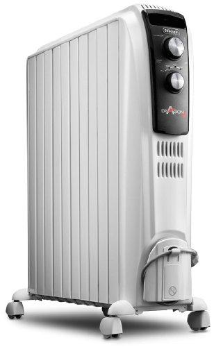 De'longhi Dragon TRD04 1025 - Radiador de aceite, 2500 w, función anti heladas, 3 ajustes potencia, asa y ruedas,...