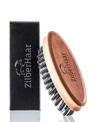 ZilberHaar - Cepillo de barba de bolsillo suave 100% cerdas de jabalí con pelo natural firme, mejor cuidado para la barba y la piel para hombres y barba, tamaño de bolsillo y viajes, calidad alemana