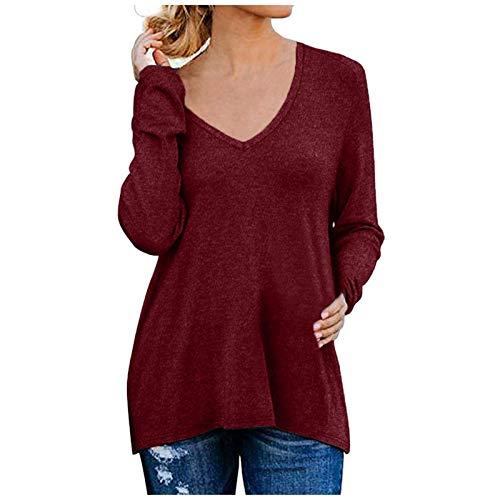 Xmiral Damen Causal V-Ausschnitt Weiche Raglan Langarm Sweatshirts Tops Basic T-Shirt Split Bluse mit Seitlichem Reißverschluss(b-Wein,L)