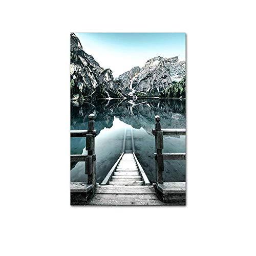 GQKLSA Dolomites Lake Nature Landscape Style Wall Art Canvas Print Painting Living Room Decoration Picture 40x60cm